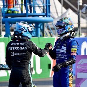 Valtteri Bottas, Mercedes, 1st position, and Daniel Ricciardo, McLaren, 3rd position, congratulate each other in Parc Ferme after Sprint Qualifying