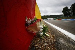 Flowers are laid in memory of Anthoine Hubert