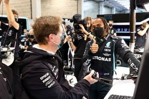 Lewis Hamilton, Mercedes, gives a thumbs up
