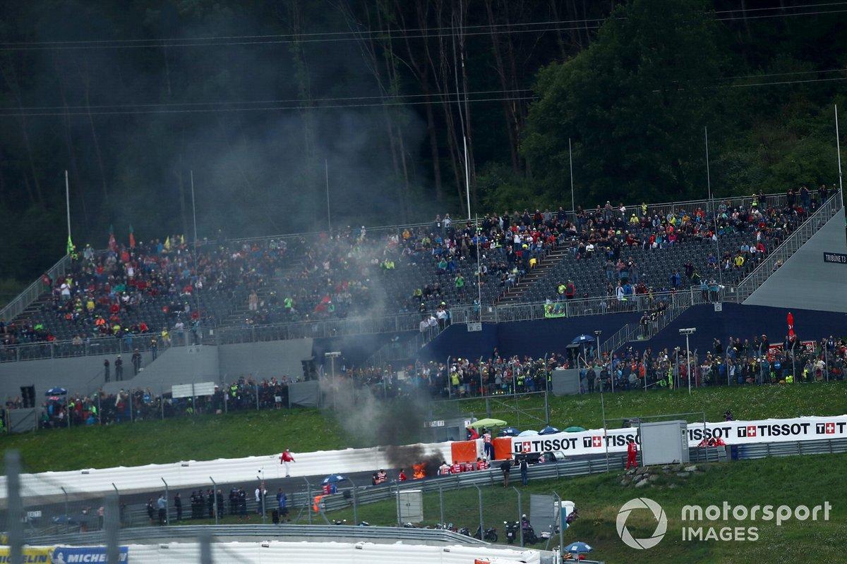 Incendio de las motos de Dani Pedrosa y Lorenzo Savadori