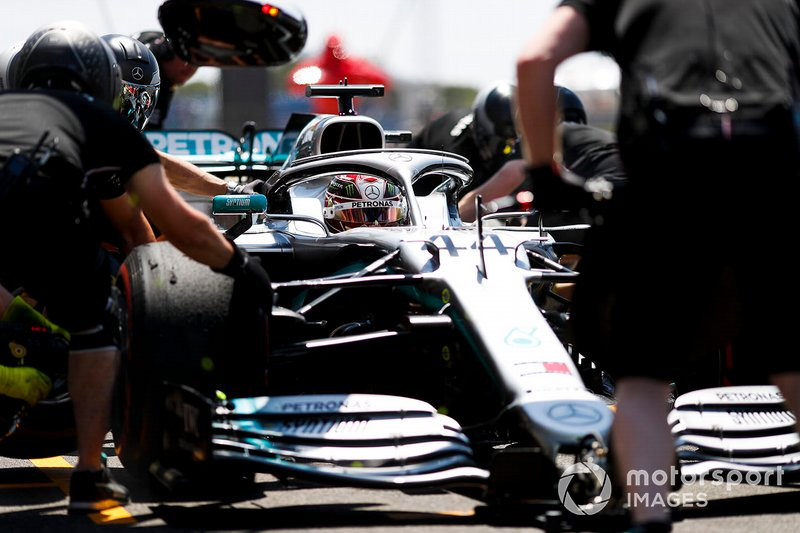 Lewis Hamilton, Mercedes AMG F1 W10, in the pit lane during practice