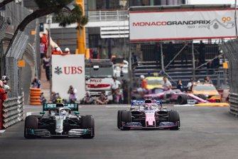Valtteri Bottas, Mercedes AMG W10, leads Sergio Perez, Racing Point RP19