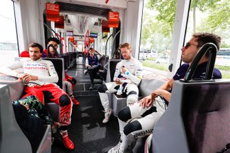 Jérôme d'Ambrosio, Mahindra Racing, Sam Bird, Envision Virgin Racing en Robin Frijns, Envision Virgin Racing