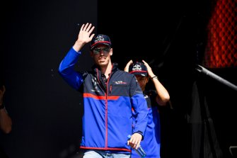 Daniil Kvyat, Toro Rosso and Alexander Albon, Toro Rosso on stage at the Fan Zone