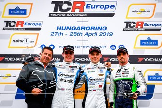 Podium: Race winner Mato Homola, Target Competition Hyundai i30 N TCR, second place Josh Files, Target Competition Hyundai i30 N TCR, third place Nelson Panciatici, M Racing Hyundai i30 N TCR