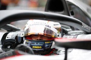 Nyck De Vries, ART Grand Prix celebrates after taking Pole Position