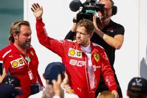 Sebastian Vettel, Ferrari walks to the podium