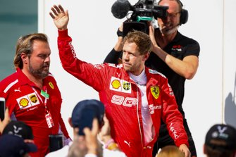 Sebastian Vettel, Ferrari walks to the podium