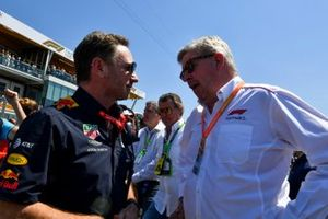 Christian Horner, Team Principal, Red Bull Racing and Ross Brawn, Managing Director of Motorsports, FOM on the grid