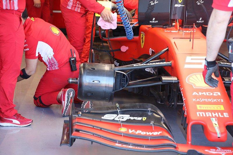 Sebastian Vettel, Ferrari, Ferrari SF90, dettaglio del cestello del freno anteriore