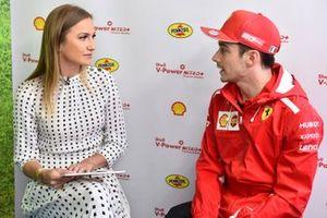 Julia Piquet with Charles Leclerc, Ferrari at Shell House