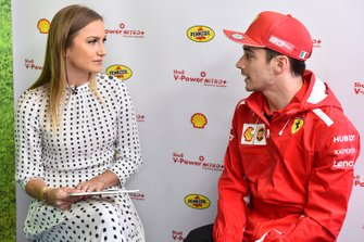 Julia Piquet with Charles Leclerc, Ferrari at Shell House