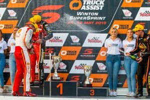 Podium: race winner Scott Mclaughlin, DJR Team Penske Ford, second place Chaz Mostert, Tickford Racing Ford, third place David Reynolds, Erebus Motorsport Holden