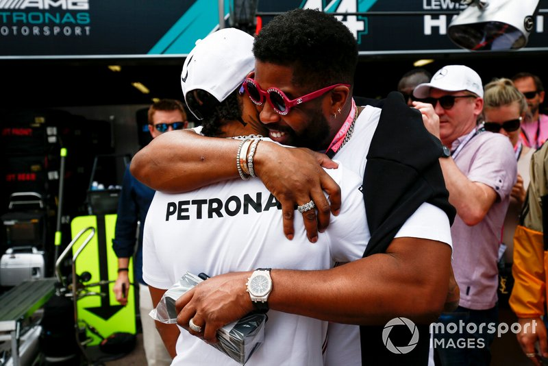 Lewis Hamilton, Mercedes AMG F1, meets some VIP guests including Ice Hockey player P.K. Subban and NFL Superstar Odell Beckham Jr