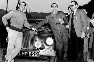 Stirling Moss, Sunbeam- Talbot 90 with John Cooper, Autocar and Desmond Scannell, Secretary of the BRDC