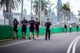Sergio Perez, Racing Point walks the track with members of the team