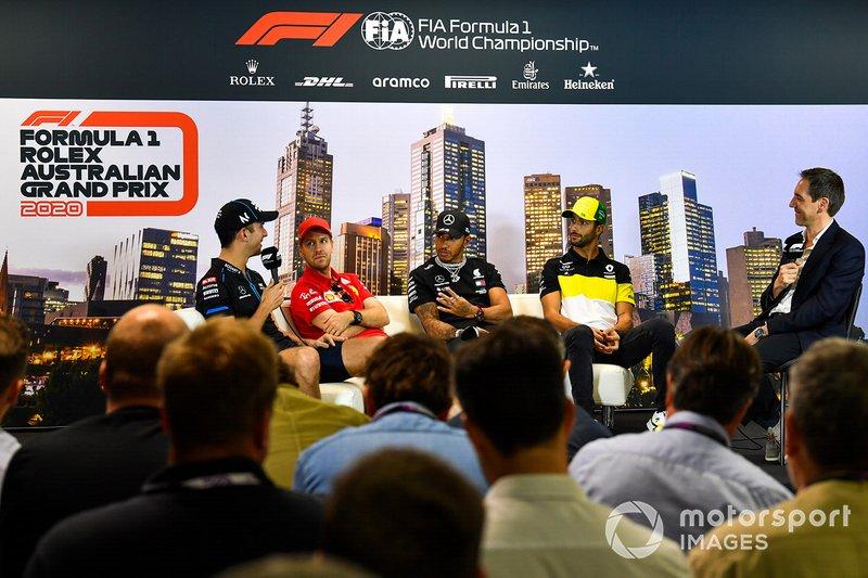 Nicholas Latifi, Williams Racing, Sebastian Vettel, Ferrari, Lewis Hamilton, Mercedes-AMG Petronas F1, e Daniel Ricciardo, Renault F1 in conferenza stampa