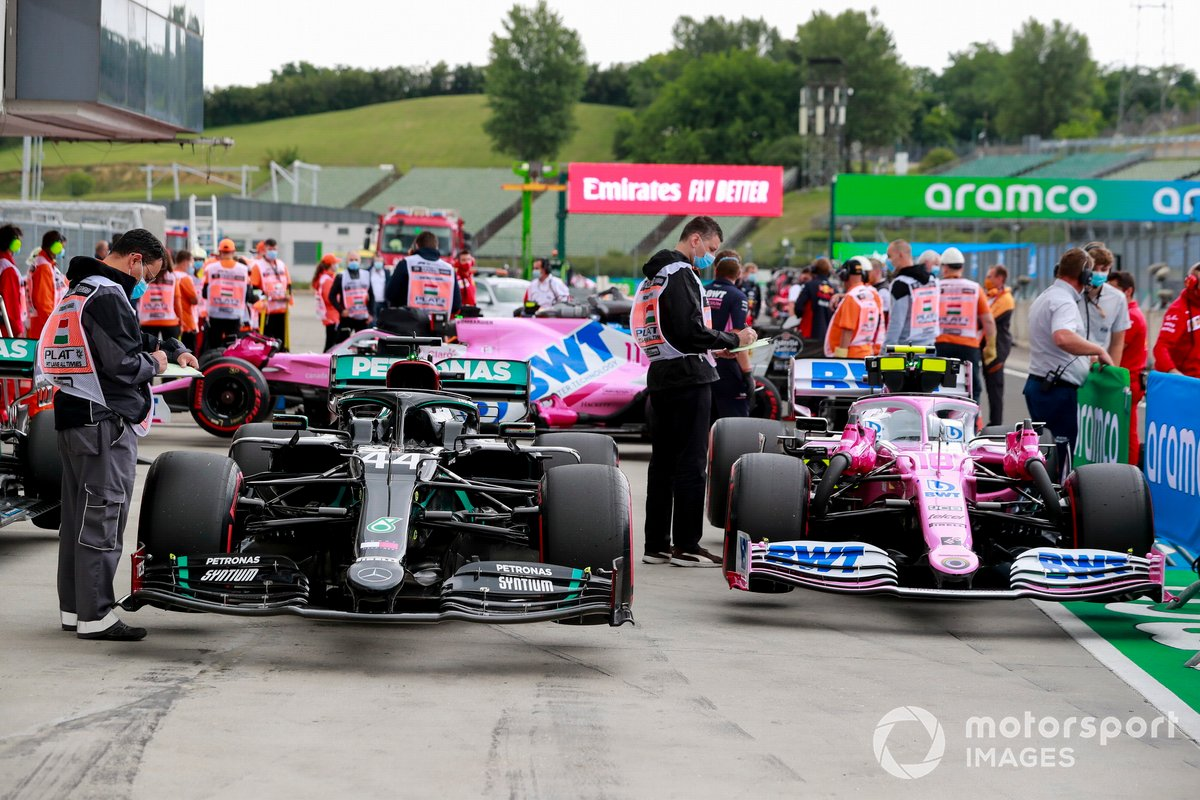 The cars of Lewis Hamilton, Mercedes F1 W11, and Lance Stroll, Racing Point RP20, in Parc Ferme after Qualifying