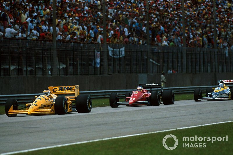 Nelson Piquet, Lotus 100T Honda V6, Michele Alboreto, Ferrari, Riccardo Patrese, Williams