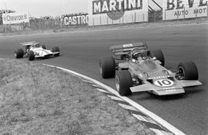 Jochen Rindt, Lotus 72C Ford leads Pedro Rodriguez, BRM P153