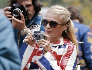 Ex-racing driver and photographer Marie-Claude Beaumont during practice