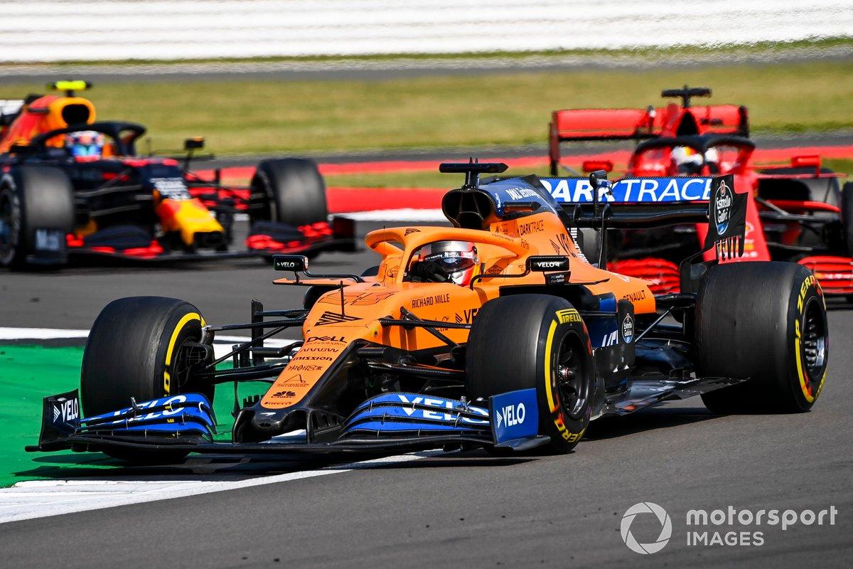 Carlos Sainz Jr., McLaren MCL35, Sebastian Vettel, Ferrari SF1000, Alex Albon, Red Bull Racing RB16