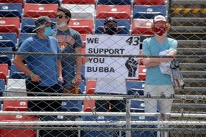 Fans hold a sign in support of Darrell Wallace Jr., Richard Petty Motorsports, Chevrolet Camaro