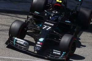Valtteri Bottas, Mercedes F1 W11 EQ Performance, leaves the garage