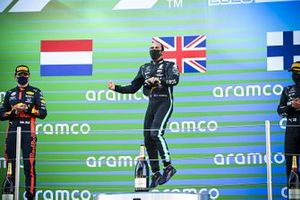 Max Verstappen, Red Bull Racing, Race winner Lewis Hamilton, Mercedes-AMG Petronas F1 and Valtteri Bottas, Mercedes-AMG Petronas F1 celebrate on the podium