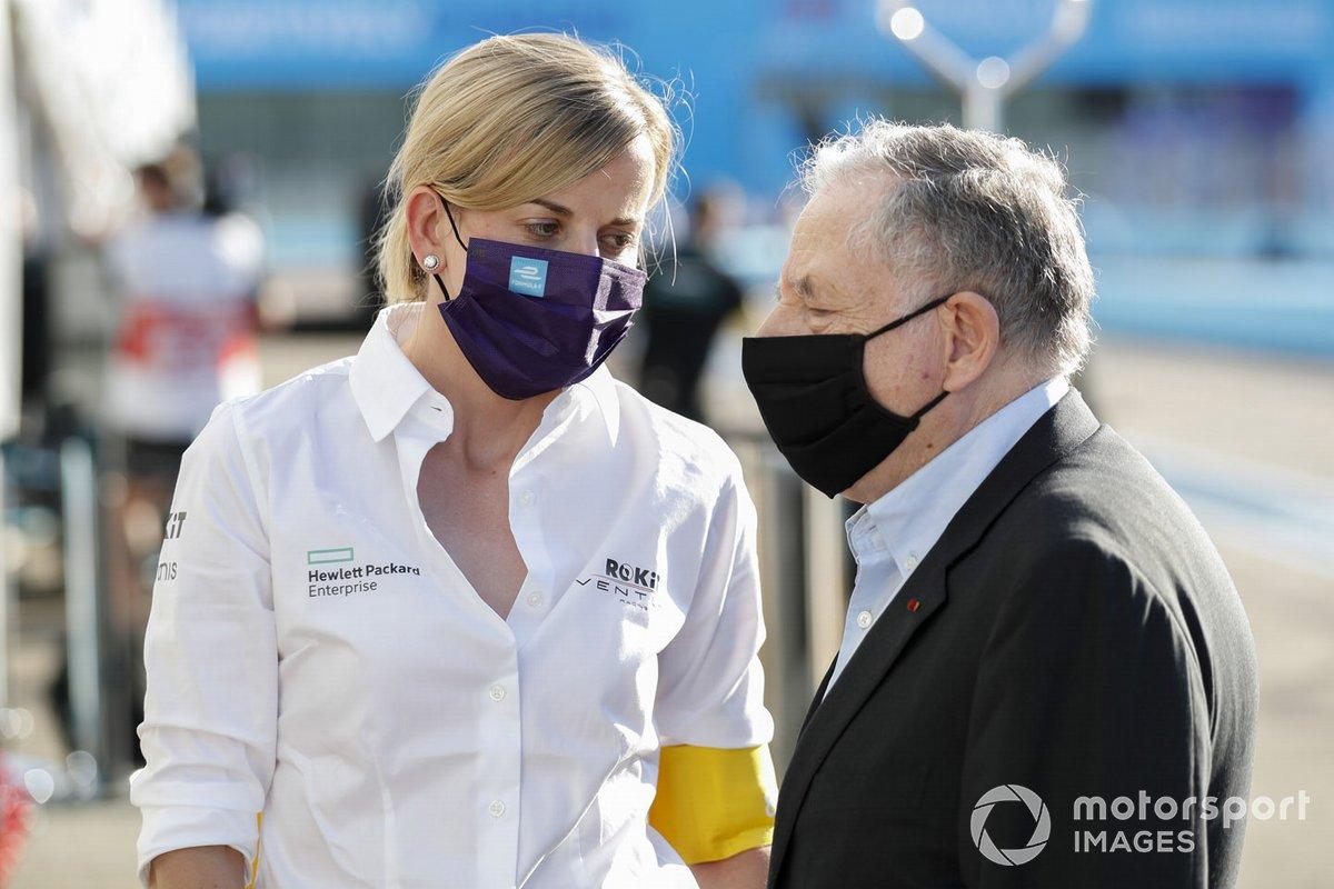Susie Wolff, Jefa de equipo, Venturi habla con Jean Todt, Presidente de la FIA