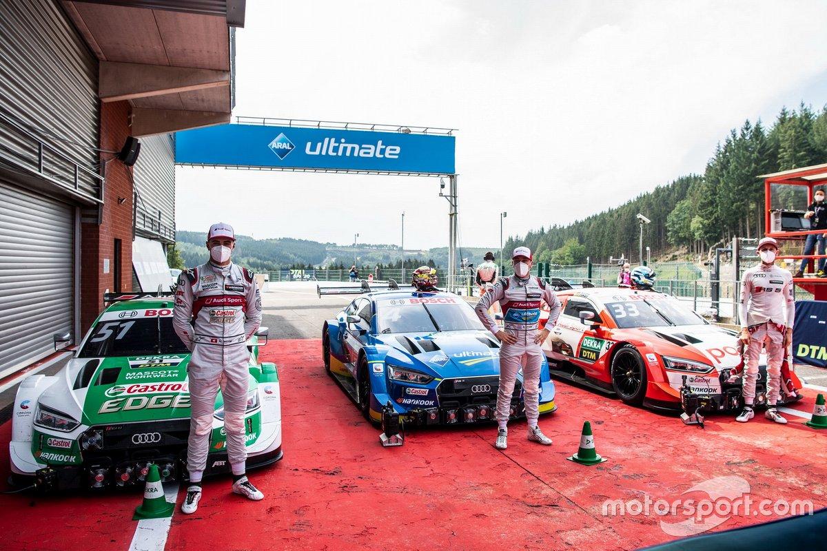 Top 3 after Qualifying: Pole sitter Robin Frijns, Audi Sport Team Abt Sportsline, Nico Müller, Audi Sport Team Abt Sportsline, René Rast, Audi Sport Team Rosberg
