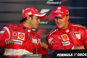 Felipe Massa, Ferrari and Michael Schumacher, Ferrari in the post race press conference