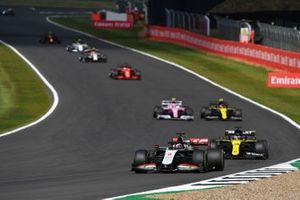 Romain Grosjean, Haas VF-20, Daniel Ricciardo, Renault F1 Team R.S.20, Esteban Ocon, Renault F1 Team R.S.20, and Lance Stroll, Racing Point RP20