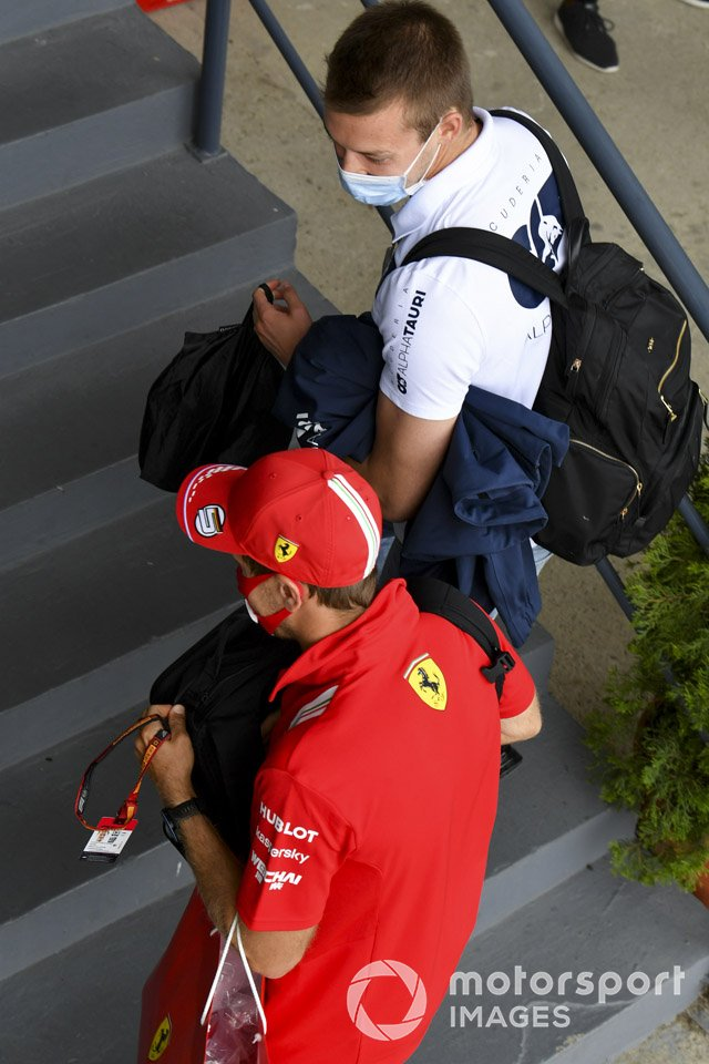 Sebastian Vettel, Ferrari and Daniil Kvyat, AlphaTauri arrive