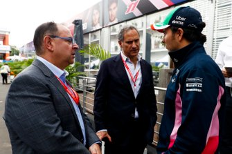 Federico Gonzalez Compean, Director General of CIEand Luis Alejandro Soberon Kuri, CEO of CIE with Sergio Perez, Racing Point