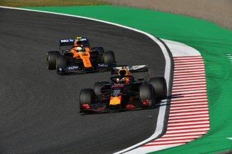 Max Verstappen, Red Bull Racing RB15, leads Lando Norris, McLaren MCL34