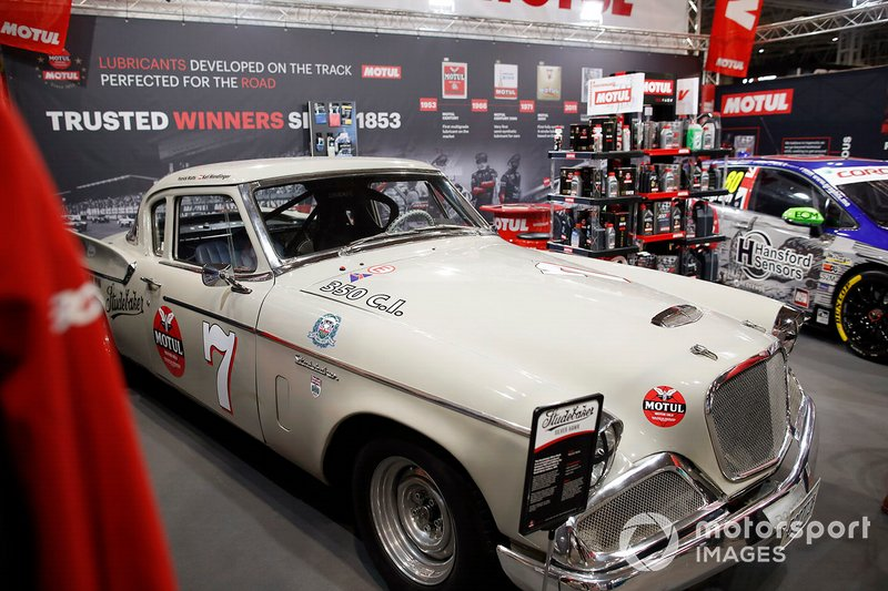 A Studebaker on display on the Motul stand at Autosport International 2020
