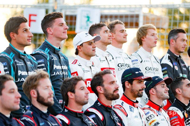 Mitch Evans, Jaguar Racing, James Calado, Jaguar Racing, Felipe Massa, Venturi, Edoardo Mortara, Venturi at the drivers' photo