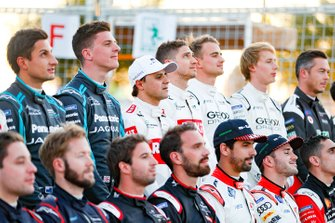 Mitch Evans, Jaguar Racing, James Calado, Jaguar Racing, Felipe Massa, Venturi, Edoardo Mortara, Venturi at the drivers' photo