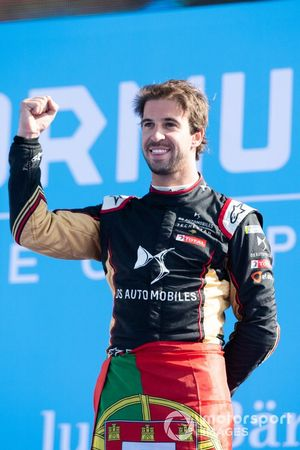 Race winner Antonio Felix da Costa, DS Techeetah celebrates on the podium