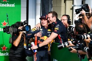Pole Sitter Max Verstappen, Red Bull Racing celebraties with his team in Parc Ferme
