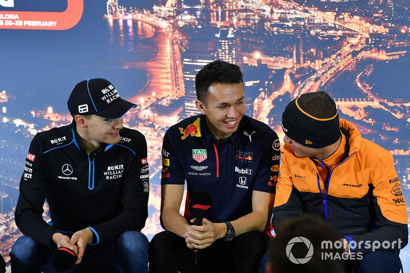 George Russell, Williams Racing, Alexander Albon, Red Bull Racing and Lando Norris, McLaren in the press conference