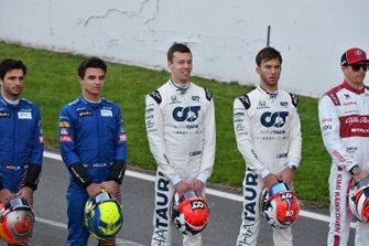 Carlos Sainz, McLaren, Lando Norris, McLaren, Daniel Kvyat, AlphaTauri, Pierre Gasly, AlphaTauri und Kimi Raikkonen, Alfa Romeo