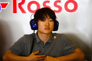 Formula 3 racer Yuki Tsunoda in the Toro Rosso garage