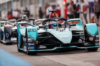Mitch Evans, Jaguar Racing, Jaguar I-Type 4 exits the pit lane