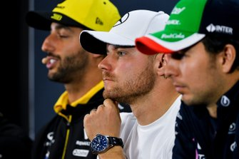 Daniel Ricciardo, Renault F1 Team, Valtteri Bottas, Mercedes AMG F1 and Sergio Perez, Racing Point In the Press Conference