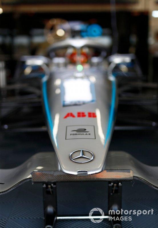 Nose detail on Stoffel Vandoorne, Mercedes Benz EQ Formula, EQ Silver Arrow 01