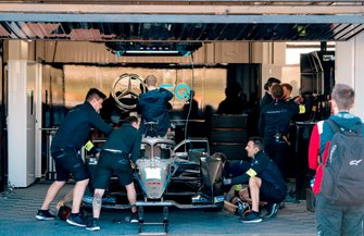 Mechanics work on Stoffel Vandoorne's, Mercedes Benz EQ Formula, EQ Silver Arrow 01