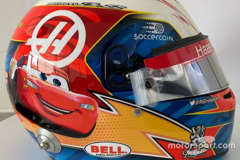 El casco de Romain Grosjean, Haas F1 Team, para el GP de Estados Unidos