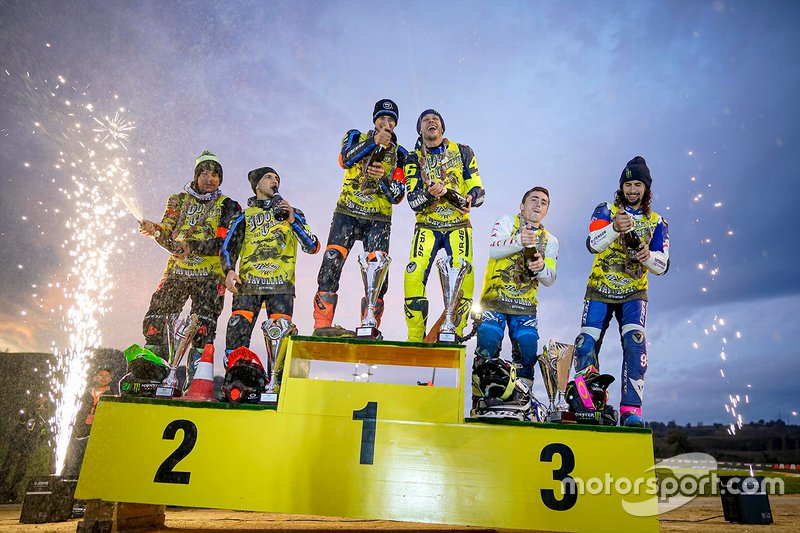 Il podio: 1st: Valentino Rossi, Luca Marini, 2nd: Franco Morbidelli, Andrea Migno, 3rd: JD Beach, Sammy Halbert